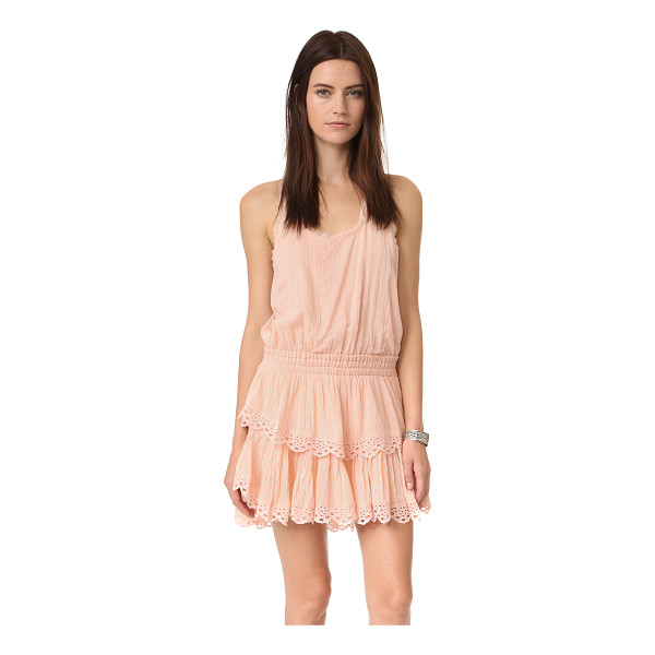 LOVESHACKFANCY Ruffle racer mini dress - Eyelet embroidery accents the flared, tiered skirt of this...