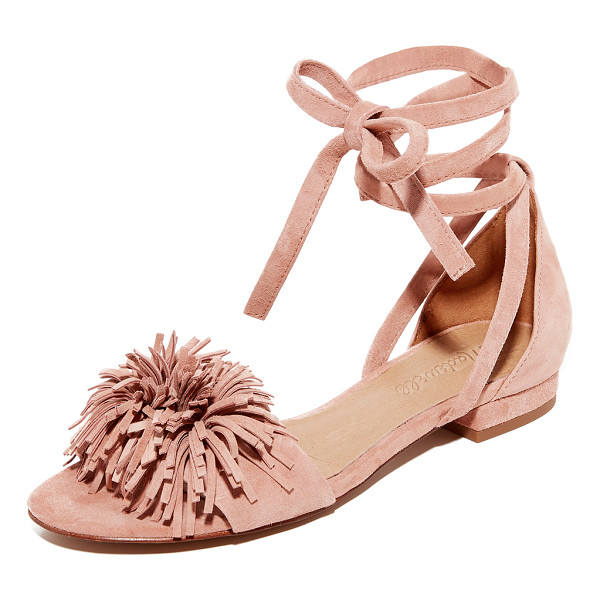 MADEWELL kaia ankle wrap sandals - Luxe suede Madewell sandals styled with playful pom-poms at...