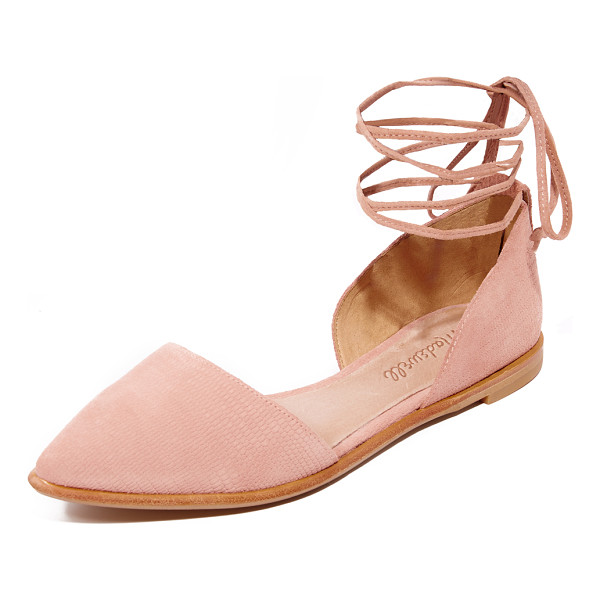 MADEWELL arielle d'orsay flats - Embossed suede lends a unique texture to these pointed-toe...