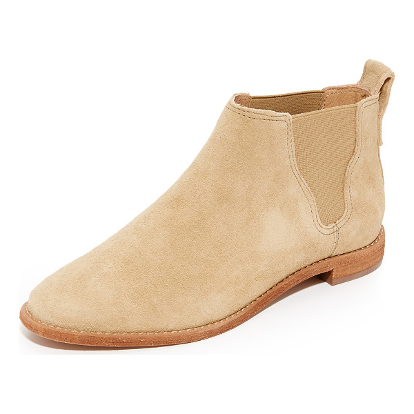 MADEWELL bryce chelsea boots - Suede Madewell booties with an almond toe. Elastic gores