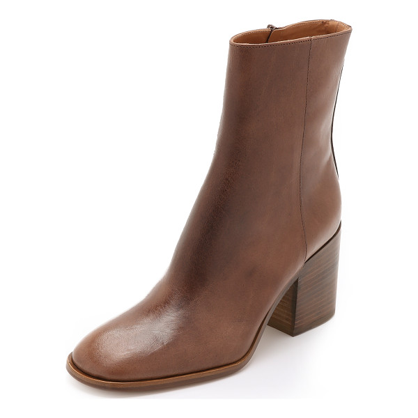 MAISON MARGIELA Leather booties - A chunky, stacked heel gives these variegated leather...