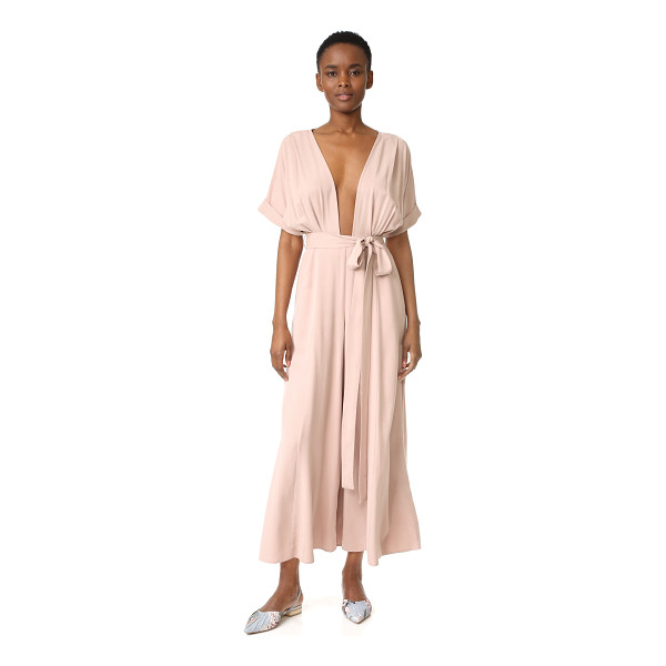 MARA HOFFMAN brushed modal deep v jumpsuit - A brushed finish lends velvety softness to this slinky...