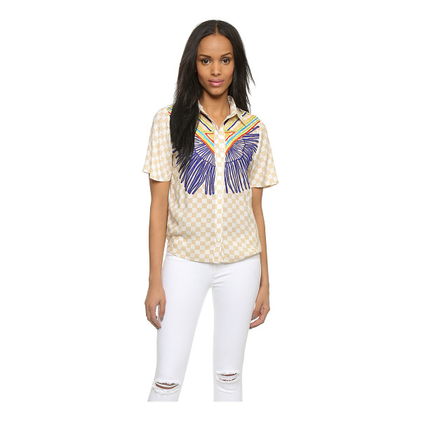 MARA HOFFMAN Embroidered button down shirt - A preppy Mara Hoffman blouse in checkered crepe, accented...
