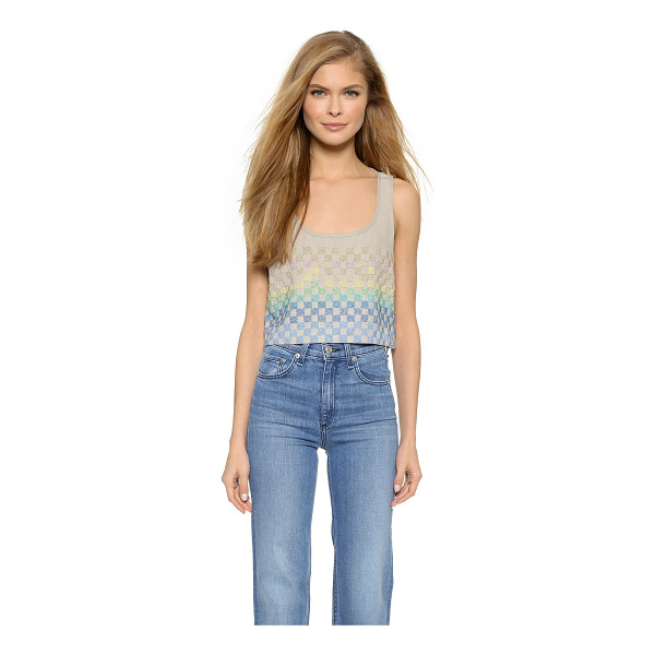 MARA HOFFMAN Linen beaded crop top - Shimmering, beaded checkers put a glamorous finish on this...