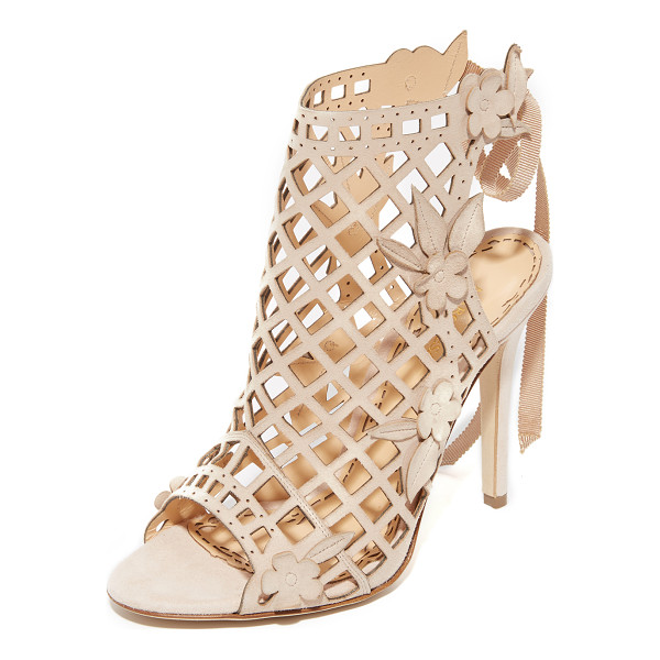 MARCHESA Edith cutout sandals - Tonal floral appliqués soften the edgy feel of these laser...
