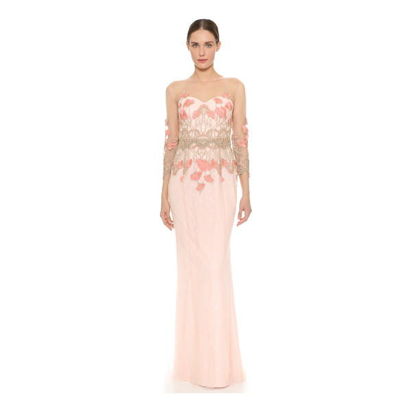 NOTTE BY MARCHESA 3/4 sleeve tulle gown - Tonal lace peeks through the filmy tulle shell of this...