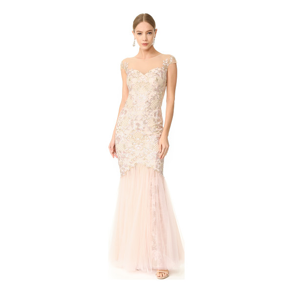 NOTTE BY MARCHESA cap sleeve gown - Floral embroidery brings timeless, feminine style to this...