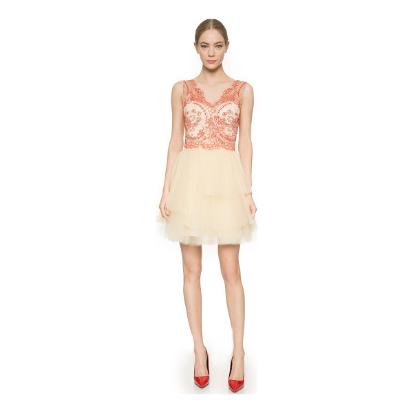 NOTTE BY MARCHESA Corded lace cocktail dress - Layers of delicate, pleated tulle lend volume to the full...