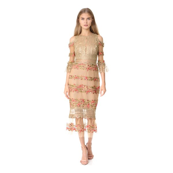 NOTTE BY MARCHESA embroidered cocktail dress - A shoulder-baring Marchesa Notte dress with a contoured...