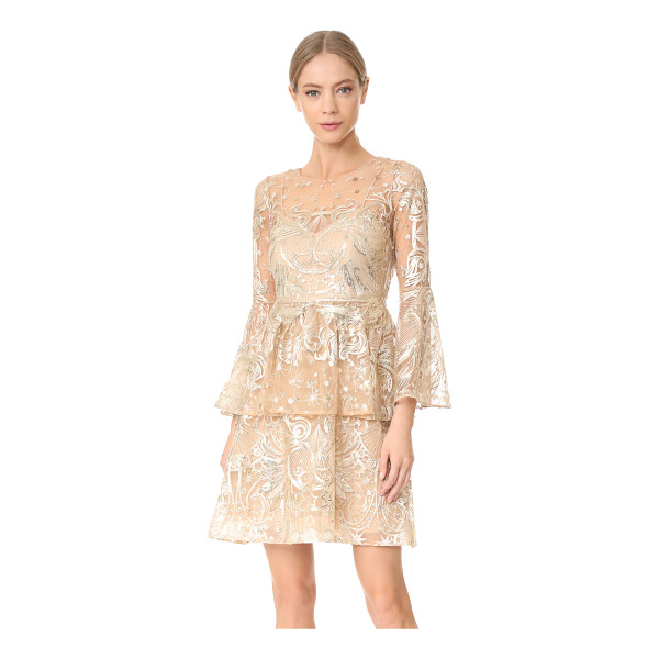 NOTTE BY MARCHESA embroidered cocktail dress - Metallic threads and mirrored sequins bring glamorous style...