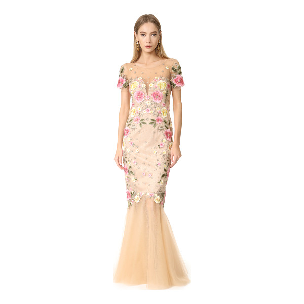 NOTTE BY MARCHESA floral embroidery gown - This glamorous Marchesa Notte gown is composed of filmy...