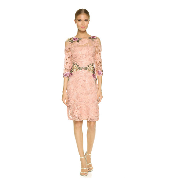 NOTTE BY MARCHESA Floral threadwork cocktail dress - Embroidered floral appliqués accentuate the romantic look...