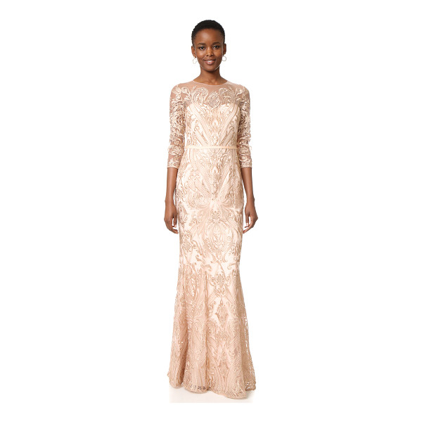 NOTTE BY MARCHESA Marchesa Notte Fully Embroidered Fit And Flare Gown - Tonal embroidery creates a shimmering, ornate design...