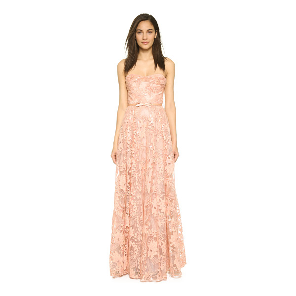 NOTTE BY MARCHESA Lace strapless gown with belt - A romantic lace Marchesa Notte gown with a vintage element....