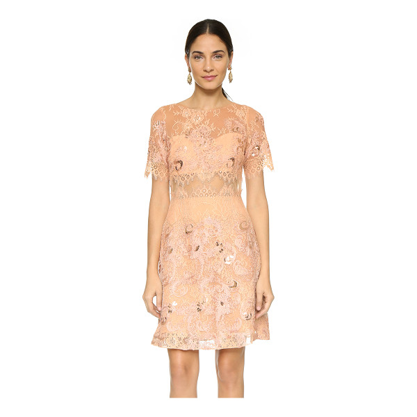 NOTTE BY MARCHESA Short sleeve dress - Feathered eyelash edges lend a delicate feel to this lace...