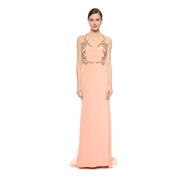 NOTTE BY MARCHESA Silk crepe halter gown - Elaborate beading brings baroque style to a lustrous silk...