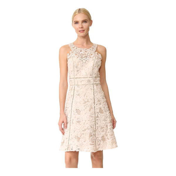 NOTTE BY MARCHESA textured cocktail dress - Frayed chiffon and metallic embroidery lend vintage charm...