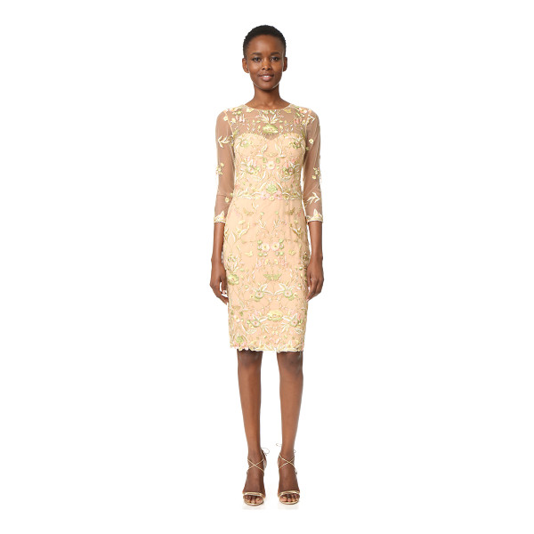NOTTE BY MARCHESA Threadwork Embroidered Cocktail - Metallic threads lend a delicate shimmer throughout this...