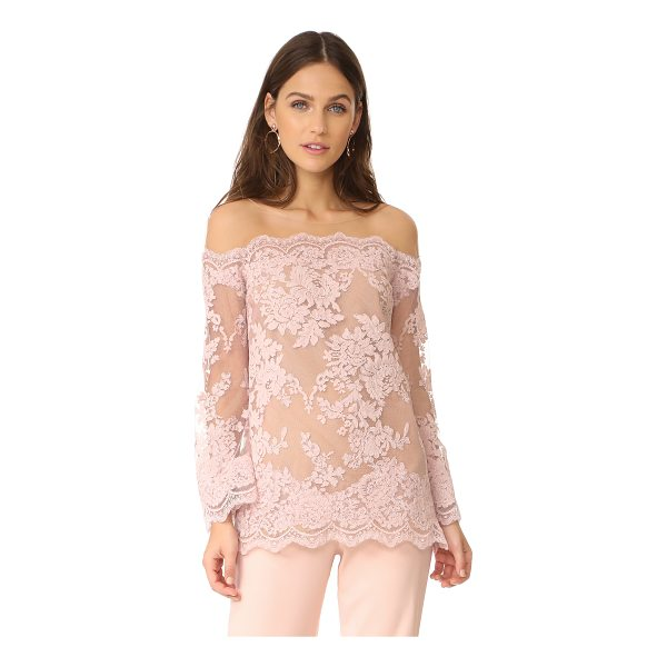 MARCHESA off shoulder top - An elegant Marchesa top made from corded lace. Sheer,...