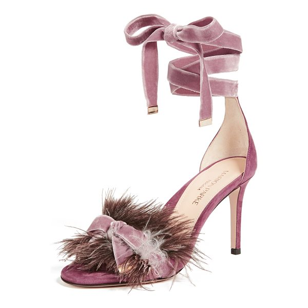 MARION PARKE lainey feather sandals - Ostrich feather and a charming bow accent the vamp on these...