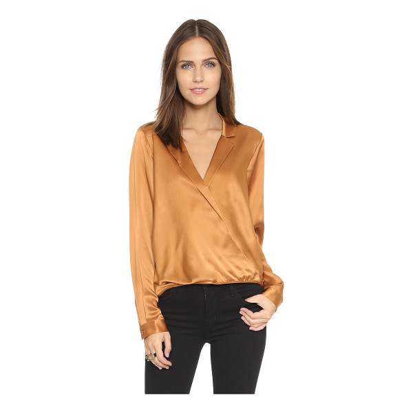 MASON BY MICHELLE MASON Wrap shirt - Notched lapels frame the crossover V neckline on this...