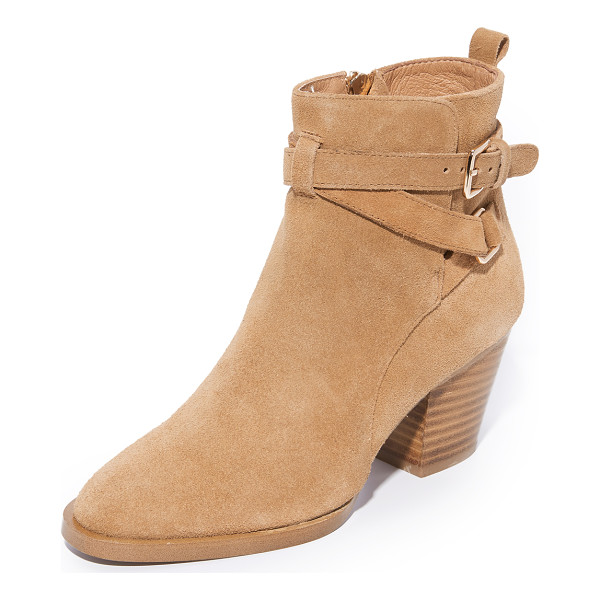 MATIKO amie buckle booties - Buckle straps accent the split shaft on these smooth suede...