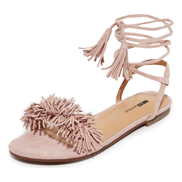 MATIKO delilah fringe flat sandals - Playful pom-poms accent the vamp on these suede Matiko...