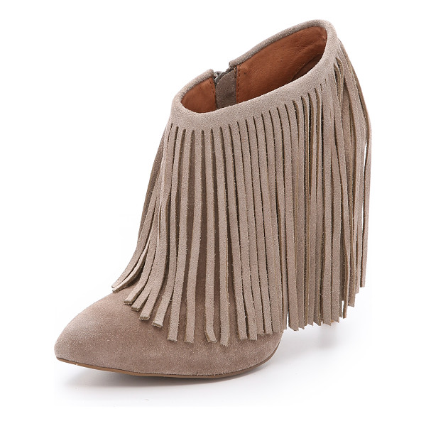 MATIKO Kacie suede fringe booties - Draped fringe surrounds the cuff of these suede Matiko...