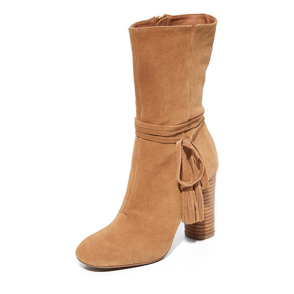 MATIKO miranda tassel boots - Tasseled straps accent the notched shaft on these smooth...