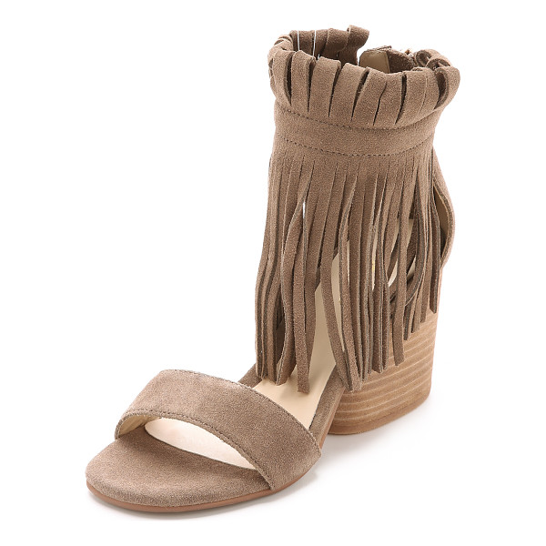 MATIKO Morgan fringe suede sandals - A chunky, stacked heel lends stable lift to suede Matiko...