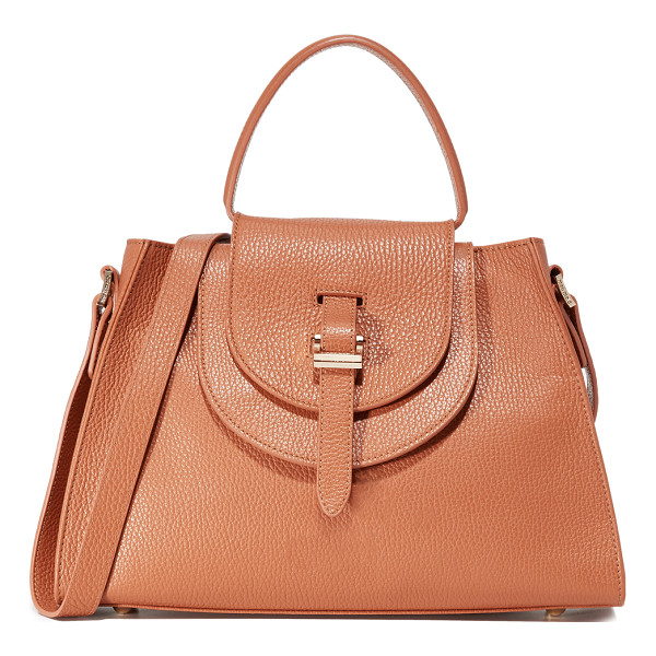 MELI MELO Double flap satchel bag - A structured meli melo handbag in pebbled leather. A