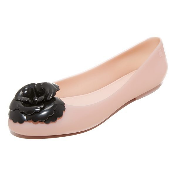 MELISSA doll fem flats - A contrast flower adds a bold accent to these matte rubber...