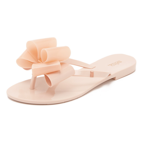 MELISSA Harmonic ix sandals - A glossy two tone bow accents the thong strap on these...