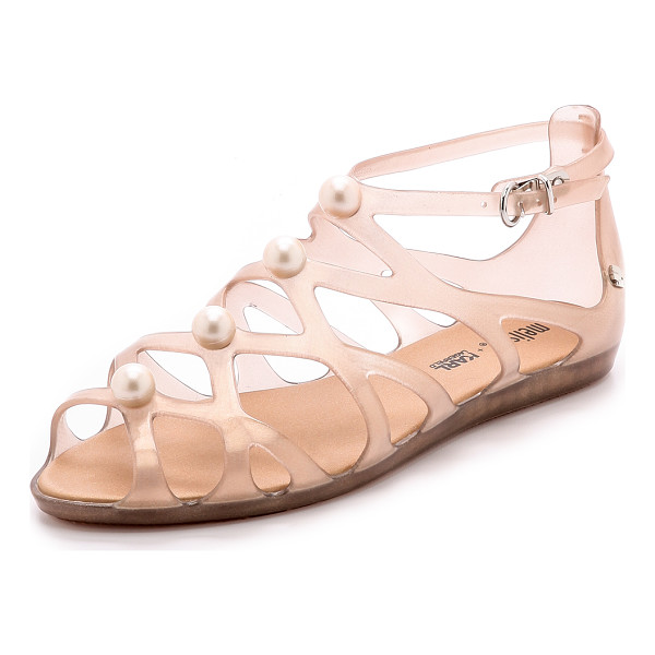 MELISSA + karl lagerfeld violatta sandals - Oversized, imitation pearls accent the latticed straps of...