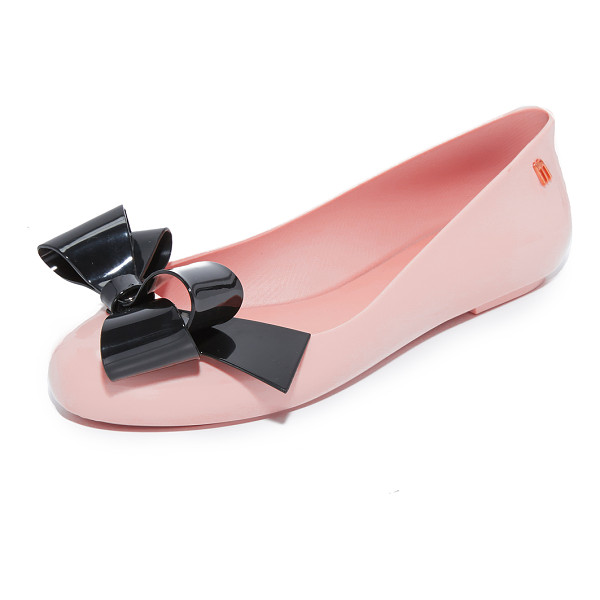 MELISSA space love flats - A contrast bow accents the vamp on these shiny rubber...