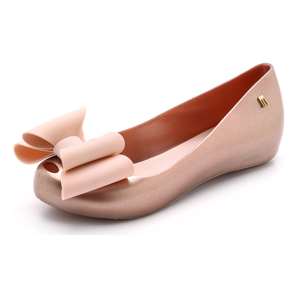 MELISSA Ultragirl sweet bow flats - An oversized, structured bow accents the peep toe of these