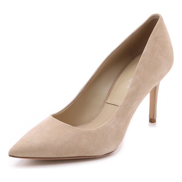 MICHAEL KORS COLLECTION Garner suede pumps - A pointed toe and covered mid heel give these Michael Kors...