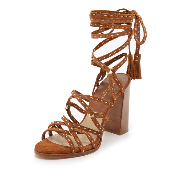 MICHAEL KORS COLLECTION Rowan lace up sandals - Topstitched suede straps and tasseled edges bring western