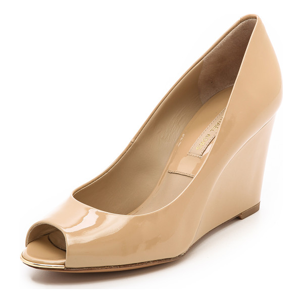 MICHAEL KORS COLLECTION Valari patent peep toe wedges - These sexy patent leather pumps are trimmed with a gleaming