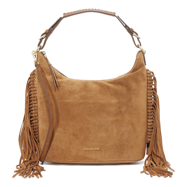 MICHAEL MICHAEL KORS Michael Michael Kors Billy Fringe Hobo Bag - Studded fringe trims this suede MICHAEL Michael Kors hobo