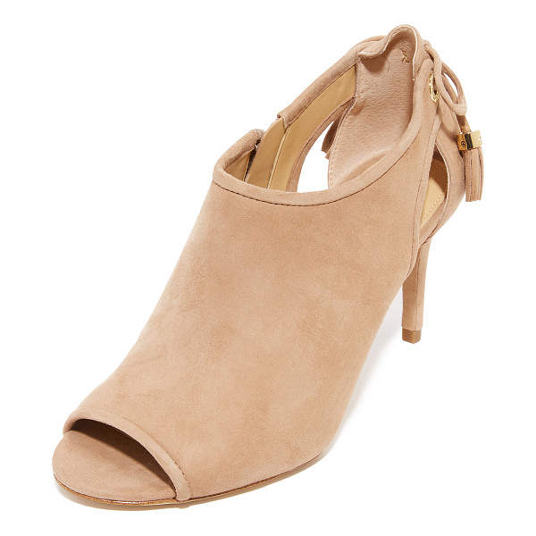 MICHAEL MICHAEL KORS jennings peep toe booties - Suede panels and side cutouts lend a layered look to these