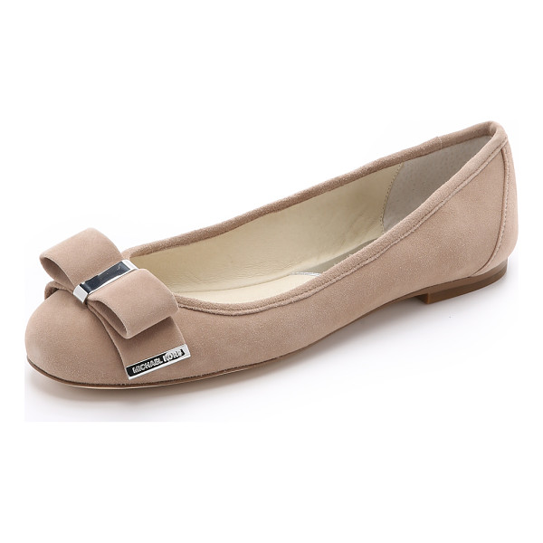 MICHAEL MICHAEL KORS Kiera suede ballet flats - Polished hardware accents the soft bow on these suede...