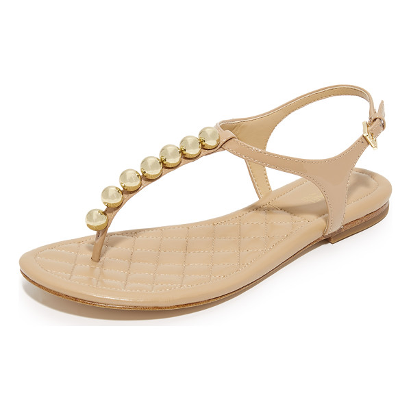 MICHAEL MICHAEL KORS kirby flat sandals - Polished spheres accent the patent-leather T strap of these