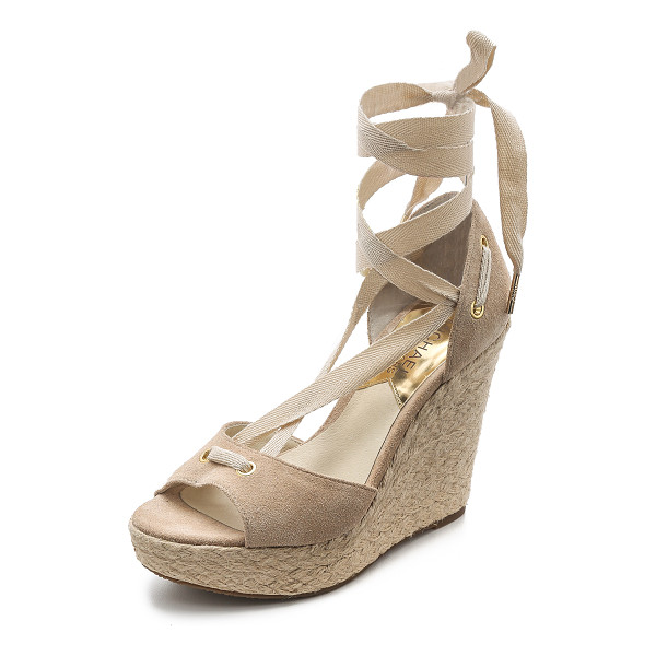 MICHAEL MICHAEL KORS Lilah suede wedges - Braided raffia trim wraps around the wedge and platform on