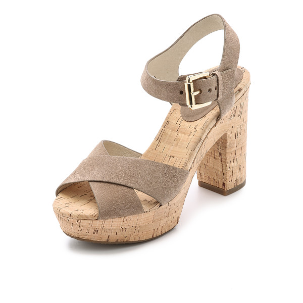 MICHAEL MICHAEL KORS Natalia suede platform sandals - A cork heel and platform form the chunky, retro inspired...