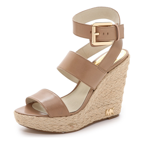 MICHAEL MICHAEL KORS Poesy wedge sandals - Braided raffia covers the wedge and platform of these...