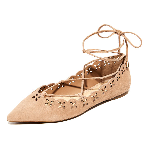 MICHAEL MICHAEL KORS thalia lace up flats - Polished studs punctuate the cutwork floral design on these