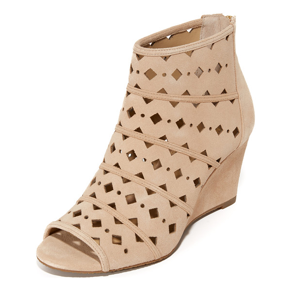 MICHAEL MICHAEL KORS uma wedge booties - Geometric cutouts detail the suede upper on these open toe...