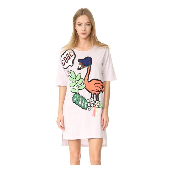MICHAELA BUERGER pink flamingo t-shirt dress - Knit appliqués add a quirky touch to this long, loose...