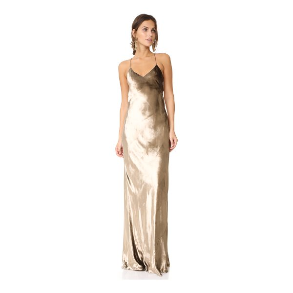 MICHELLE MASON bias maxi velvet gown - Slim straps trace the shoulders of this stunning Michelle...